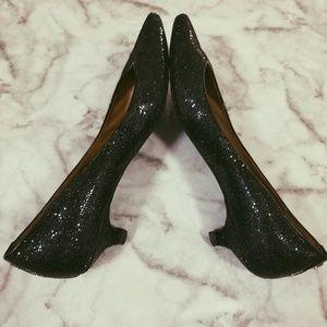 Isaac Mizrahi Black Glitter Kitten Heels (US 9)